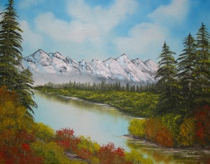 Mountain and lake painting