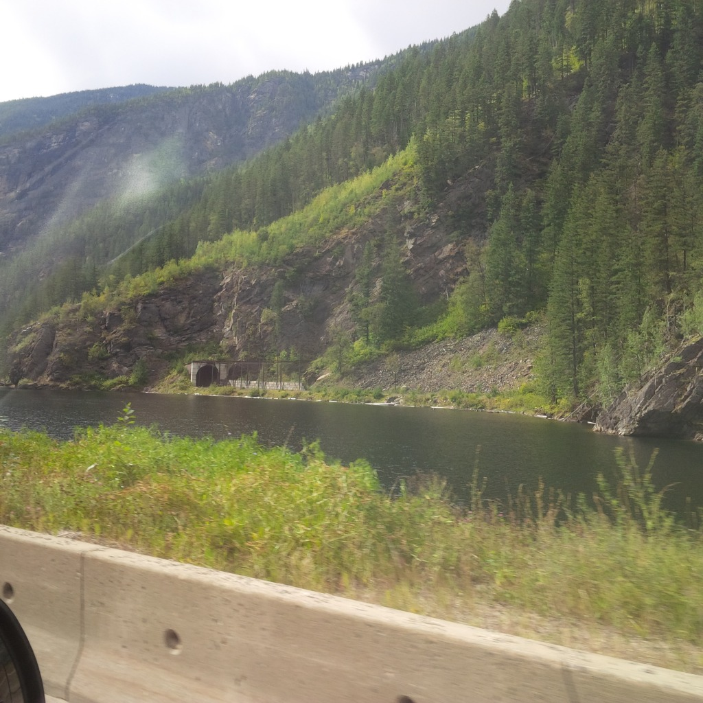 A train tunnel near Salmon Arm, BC, from our truck window