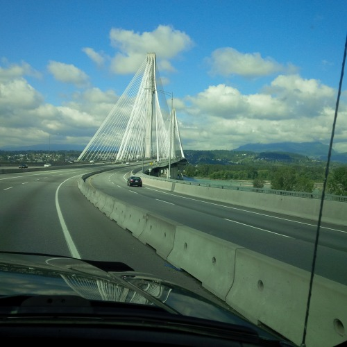 Coming up on the Port Mann Bridge, Vancouver BC
